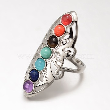 Chakra Jewelry, Brass Natural/Synthetic Mixed Stone Finger Rings, Wide Band Rings, Hollow, Size 8, Platinum, 18mm(X-KK-J298-28-NR)