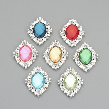 Alloy Rhinestone Flat Back Cabochons, with Acrylic Rhinestone, Oval, Silver Color Plated, Mixed Color, 32x25x4.5mm(X-RB-S061-A)