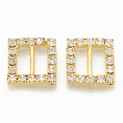 Laiton strass boucles, carrée, cristal, or, 16x16x3mm, Trou: 4x10mm(RB-T008-03G)