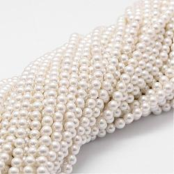 Shell Pearl Bead Strands, Grade A, Round, White, 4mm, Hole: 1mm; about 95pcs/strand, 16 inches(BSHE-L025-01-4mm)