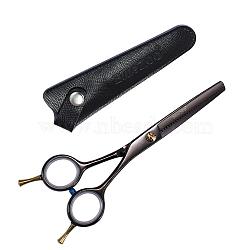 Ciseaux de cisaillement amincissants de coiffure en acier inoxydable, avec gaine en cuir, façonner la coiffure outil de cosmétique de toilettage, gunmetal, 16 cm(MRMJ-T008-009)