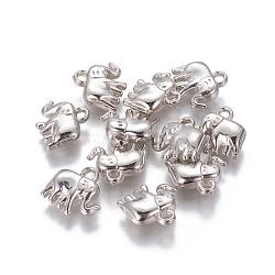 Пластиковые прелести ccb, слон, платина, 13.4x14.2x5 mm, отверстия: 2.3 mm(CCB-L006-30P)