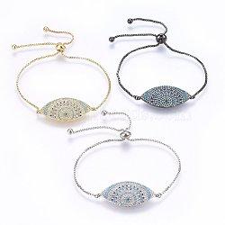 """Bracelets réglables en laiton à micro-pavé de zircons cubiques, Bracelets coulissants, oeil de cheval, colorées, couleur mixte, 10-7/8"""" (27.5cm); 1.2mm(BJEW-H583-12)"""