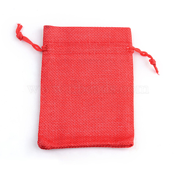 Polyester Imitation Burlap Packing Pouches Drawstring Bags, Red, 18x13cm(X-ABAG-R005-18x13-18)