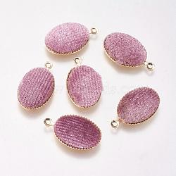 Pendentifs en laiton, de velours, ovale, véritable plaqué or, rose, 18x12x3mm, Trou: 1mm(KK-P138-11E)