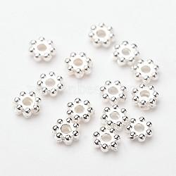abs flocon electroplated plastique perles d'espacement, plaqué argent, 4x1.7 mm, trou: 1 mm; ; sur 4100 pcs / 50 g(X-KY-I002-01B)