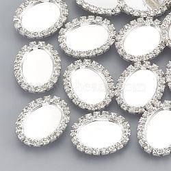 Boutons cabochon en laiton, avec des strass, 1-trou, ovale, cristal, argenterie, plateau: 18x13 mm; 24.5x20x6 mm, Trou: 1.2mm(RB-Q212-01)