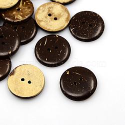 Boutons de noix de coco, 2-trou, plat rond, coconutbrown, 23x4mm, Trou: 2mm(COCO-I002-097)