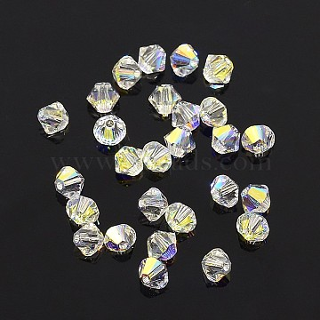 Austrian Crystal Beads, 5301 4mm, Bicone, Crystal AB, Size: about 4mm long, 4mm wide, Hole: 1mm(X-5301_4mm001AB)