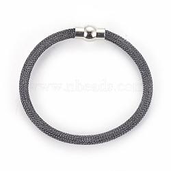 """Bracelets à mailles en laiton, avec fermoir magnétique en laiton, grises , 8""""~8-1/8"""" (20.4~20.7cm); 5mm(BJEW-F372-01F)"""