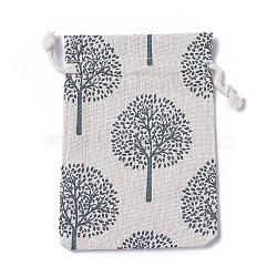 Pochettes en toile de jute, sacs à cordonnet, rectangle avec motif arbre de vie, colorées, 14~14.4x10~10.2 cm(ABAG-I001-10x14-16)