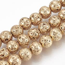 """Chapelets de perles en lave naturelle électrolytique, rond, cahoteuse, plaqué or et de lumière, 6~7mm, trou: 1mm; environ 61 pcs/chapelet, 15.7""""(G-T061-55B-6mm)"""