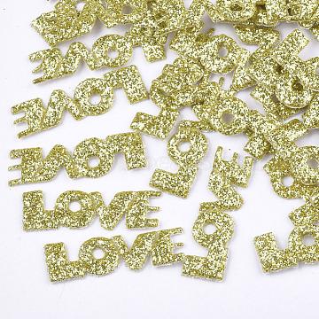 Non Woven Fabric Costume Accessories, with Glitter Powder, Word Love, Yellow, 26x8x1mm(FIND-T038-14E)