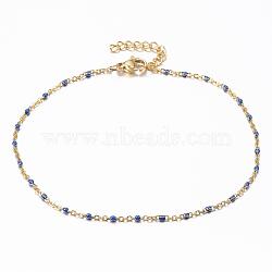 304 bracelets de cheville en acier inoxydable, avec des liens en émail, or, darkblue, 9 (23 cm); 1.5~2 mm(X-AJEW-H010-01D)