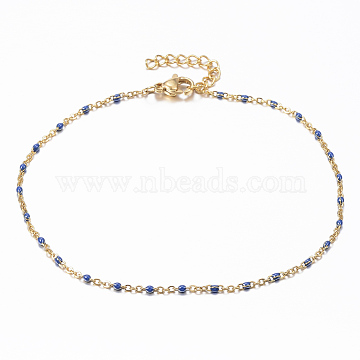 304 Stainless Steel Cable Chain Anklets, with Enamel Links, Golden, DarkBlue, 9inches(23cm); 1.5~2mm(X-AJEW-H010-01D)