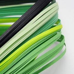 Bandes de papier quilling de 6 couleurs, verte progressive, 390x3mm; à propos 120strips / sac, 20strips / couleur(X-DIY-J001-3mm-A04)