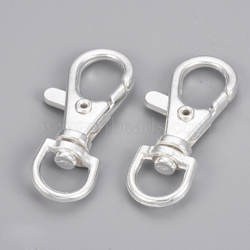 Alloy Swivel Lobster Claw Clasps, Swivel Snap Hooks, Silver Color Plated, 39.5x17x6.5mm, Hole: 6x9mm(PALLOY-Q360-01S)