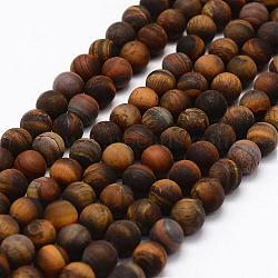Frosted Natural Tiger Eye Beads Strands, Round, 8mm, Hole: 1mm; about 45pcs/strand, 15.1inches