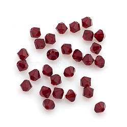 Austrian Crystal Beads, 5301 4mm, Bicone, Siam, Size: about 4mm long, 4mm wide, Hole: 1mm(X-5301_4mm208)