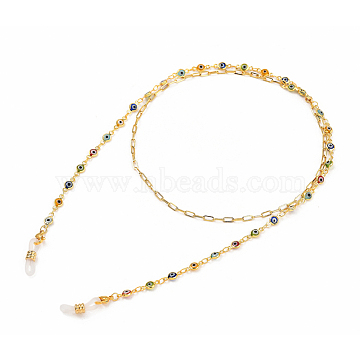 Eyeglasses Chains, Neck Strap for Eyeglasses, with Brass Paperclip Chains & Evil Eye Lampwork Link Chains, 304 Stainless Steel Lobster Claw Clasps and Rubber Loop Ends, Golden, 31.22 inches(76.5cm)(AJEW-EH00107)