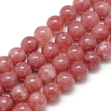 Natural Rhodochrosite Beads Strands, Round, Dyed, 8x7.5mm, Hole: 1mm, about 46~49pcs/strand, 15.5 inches(X-G-S150-06-8mm)