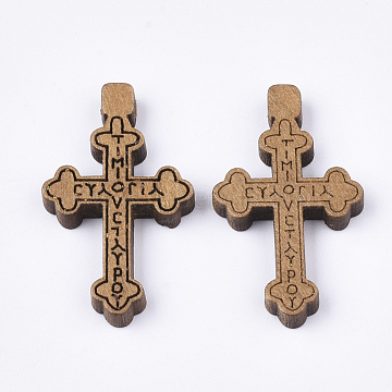 Wooden Pendants, Dyed, Cross with Word, Camel, 32x19x4mm, Hole: 1.5mm(X-WOOD-S050-32B)
