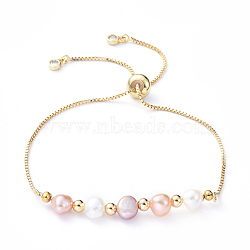 Adjustable Brass Slider Bracelets, Bolo Bracelets, with Natural Pearl Beads, Cubic Zirconia and Brass Beads, Golden, 10-5/8 inch(27cm)(X-BJEW-JB05149)