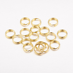 Iron Split Rings, Golden, 8x1.4mm; about 6.6mm inner diameter; Single Wire: 0.7mm, about 350pcs/50g(X-JRDG8mm)