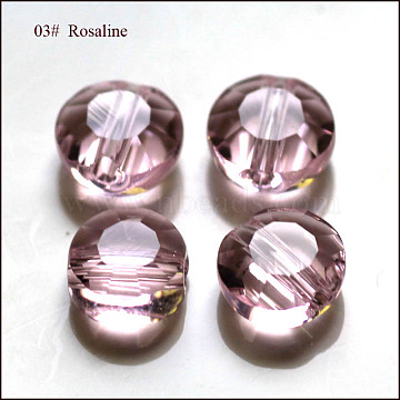 6mm Pink Flat Round Glass Beads