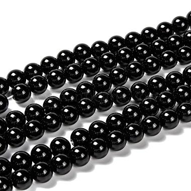 8mm Black Round Obsidian Beads