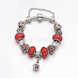 Alliage de couronne strass émail européens bracelets de perles, avec résine perles européennes, chaînes en laiton et en alliage fermoirs, rouge, 180mm(BJEW-I182-02B)