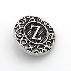 Boutons à pression de bijoux de lettre d'émail d'alliage de zinc de ton argent antique, plat rond, sans plomb & sans nickel & sans cadmium , letter.z, 19x6 mm; bouton: 5 mm(SNAP-N010-86Z-NR)