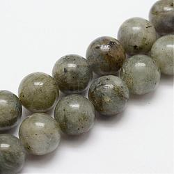 Natural Labradorite Bead Strands, Round, 6mm, Hole: 1mm; about 31pcs/strand, 7.7inches(G-O155-05B-6mm)