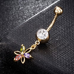 Brass Cubic Zirconia Navel Ring, Belly Rings, with Use Stainless Steel Findings, Cadmium Free & Lead Free, Real 18K Gold Plated, Flower, Colorful, 39x11mm, Pin: 1.5mm(AJEW-EE0004-13)