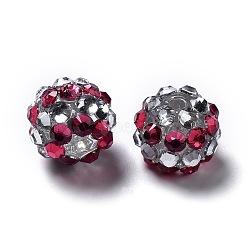 Chunky Resin Rhinestone Beads, Resin Round Beads, Fuchsia, 12mm, Hole: 1.5~2mm(RESI-M019-21)