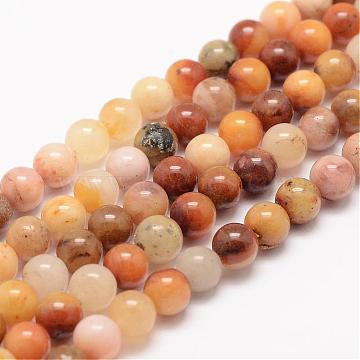 Natural Topaz Jade Bead Strands, Round, 6mm, Hole: 1mm; about 63pcs/strand, 15.5 inches(G-K153-B22-6mm)