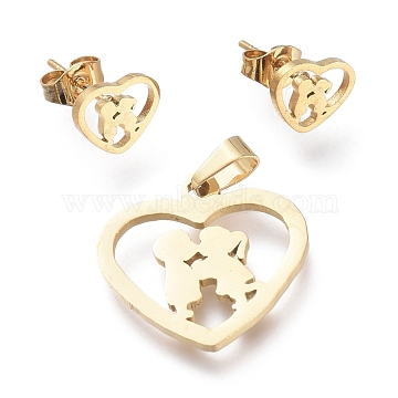 Valentine's Day 304 Stainless Steel Jewelry Sets, Pendants and Stud Earrings, with Ear Nuts, Heart with Lovers, Golden, 19x20x1.5mm, Hole: 5x3.2mm; 7.5x9.5mm, Pin: 0.7mm(SJEW-K154-23G)