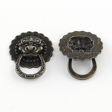 Lion Wooden Box Pull Handle, Cabinet Door Handle Furniture Pull, Antique Bronze, 30x23x5mm(IFIN-R203-42AB)