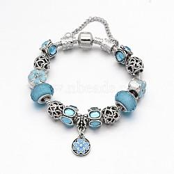Alliage de fleur strass émail européen bracelets de perles, avec résine perles européennes, chaînes en laiton et en alliage fermoirs, bleu ciel, 180mm(X-BJEW-I182-01C)