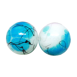 Baking Painted Drawbench Glass Bead Strands, Round, DeepSkyBlue, 8~8.5x7.5~8mm, Hole: 1.5mm; about 106pcs/strand, 31.4inches(X-DGLA-S106-8mm-AD22)