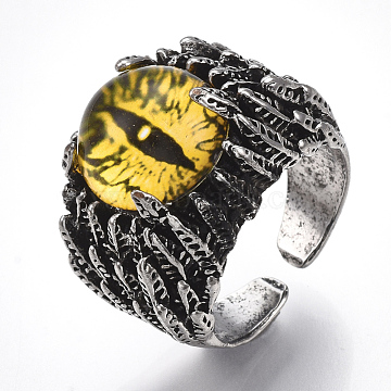 Alloy Glass Cuff Finger Rings, Wide Band Rings, Dragon Eye, Antique Silver, Yellow, Size 10, 20mm(RJEW-T006-05D)