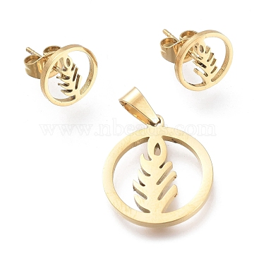 304 Stainless Steel Jewelry Sets, Pendants and Stud Earrings, with Ear Nuts, Ring with Wheat, Golden, 19x16.5x1.3mm, Hole: 5x3mm; 10mm, Pin: 0.7mm(SJEW-K154-20G)