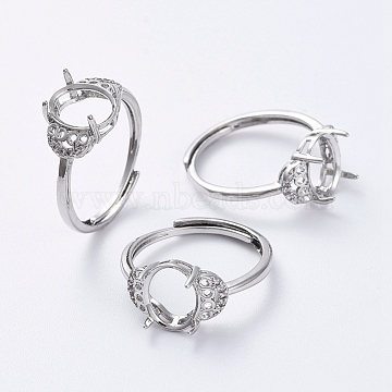 Adjustable Brass Finger Ring Components, Claw Pad Ring Settings, with Clear Cubic Zirconia, Platinum, Size 7, 17mm; Tray: 9.5x8mm(KK-L193-04P)