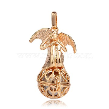 Golden Plated Brass Hollow Round Cage Pendants, with No Hole Spray Painted Brass Round Beads, Angel, Silver, 44x29x20mm, Hole: 3x8mm(KK-J249-05G)