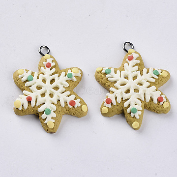 Handmade Polymer Clay Pendants, with Platinum Plated Iron Loops, Christmas Theme, Snowflake, FloralWhite, 34x27.5x7mm, Hole: 2mm(X-CLAY-S093-28)