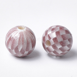 Perles acryliques imprimées, rond avec motif tartan, indianred, 14x13.5mm, Trou: 2.5mm(MACR-T024-55D)