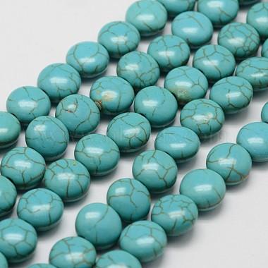 10mm DarkCyan Flat Round Howlite Beads