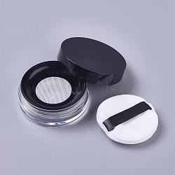 Reusable Plastic Loose Powder Bottles, Empty Bottles, DIY Makeup Powder Case, with Sponge Powder Puff, Mirror and Sifter, Black, 6.5x2.53cm; Capacity: 10g(MRMJ-WH0056-34B)