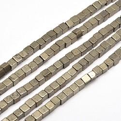 "Perles cube de pyrite naturelle brins, 4x4x4mm, trou: 1mm; environ 96 pcs/chapelet, 15.7""(G-I126-17-4x4mm)"