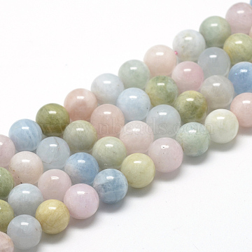 Natural Morganite Beads Strands, Grade A, Round, 8~9mm, Hole: 1mm; about 45~48pcs/strand, 15.7 inches(G-R446-8mm-07)
